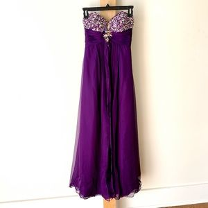 Violet strapless gown with embellished bodice